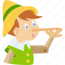 boy, childrens, folktale, nose, pinocchio, puppet, story icon