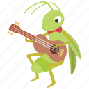 ant, aesop, fable, music, guitar, grasshopper, musician