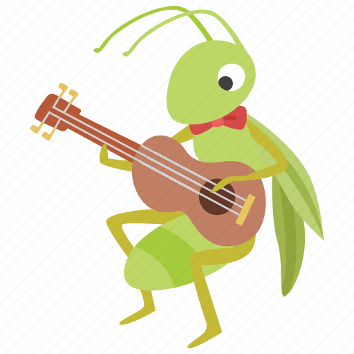 Aesop, ant, fable, grasshopper, guitar, music, musician icon - Download on Iconfinder
