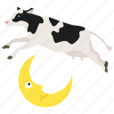 nursery rhyme, jumped over, story, cow, jumped, moon