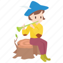boy, fable, grimm, musician, pied piper, pipe, rat-catcher icon