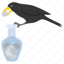 aesop, crow, fable, ingenuity, pitcher, raven icon