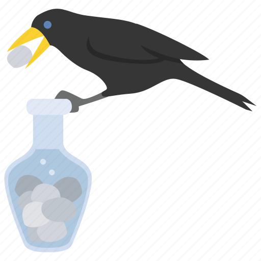Aesop, crow, fable, ingenuity, pitcher, raven icon - Download on Iconfinder