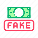 business, currency, fake, finance, money icon