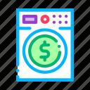 fake, finance, laundering, machine, money, washing icon