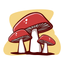 mushrooms, autumn, nature, plant, cartoon, hand-drawn, outline