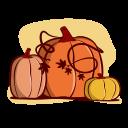 pumpkins, autumn, fall, season, cartoon, hand-drawn, outline icon