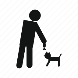 blind, blindness, dog, man, person, pet, stick icon