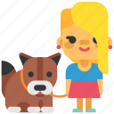 dog, family, girl, live, people, pet, walk icon