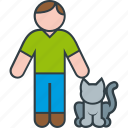 animal, cat, kitty, male, man, pet icon
