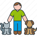animal, cat, dog, kitty, male, man, pet icon