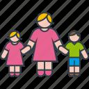 boy, daughter, family, girl, mother, son icon