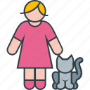 animal, cat, female, kitty, pet, woman icon
