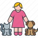 animal, cat, dog, female, kitty, pet, woman icon