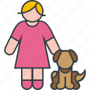 animal, dog, female, pet, puppy, woman icon