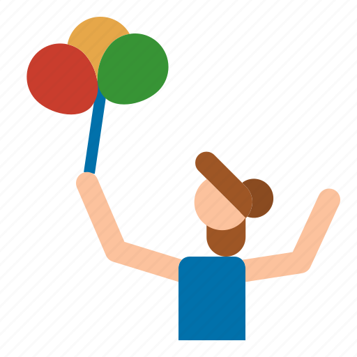balloons, child, daughter, mother icon