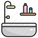 bath, bathroom, bathtub, clean, hygiene, hygienic, washing icon