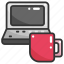 coffee, computer, digital, electric, laptop, technology, tool icon