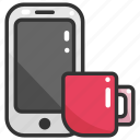 cellphone, coffee, communications, mobile phone, smartphone, technology, touch screen icon