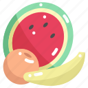 banana, food, fruit, healthy, orange, vegan, watermelon