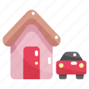 buildings, car, construction, home, house, property, real estate icon