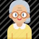 elderly, grandma, grandmother, old woman, woman icon
