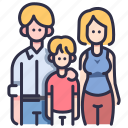 child, family, father, happy, mother, people, together icon