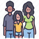 child, daughter, family, father, girl, mother, together icon