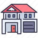 architecture, design, estate, exterior, home, residential, roof icon