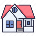 architecture, design, estate, exterior, house, residential, roof icon