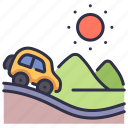 adventure, car, drive, road, summer, travel, vacation icon