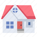 architecture, estate, exterior, home, house, residential, roof icon