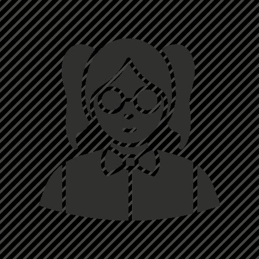 girl, hipster, nerd, school girl icon