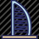 burj al arab, hotel, dubai, skyscraper