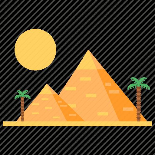 egyptian pyramids, holiday, mud-brick, pyramid, pyramid-shaped, summer icon