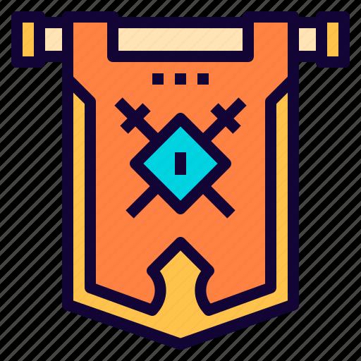 fancy, flag, game, team, vikings icon