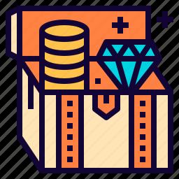 box, coin, diamond, golden, reward, treasure icon