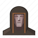 fantasy, hood, judge, mage, robe, roleplay, wizard icon