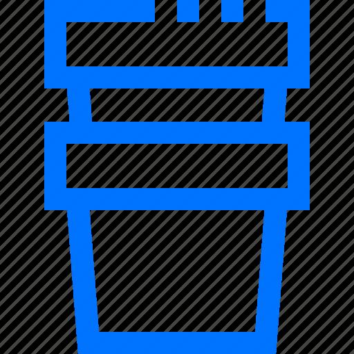 buckets, equipment, farm, garden, stack, two icon