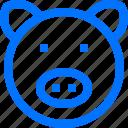 animal, face, farm, front, garden, head, pig icon