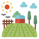 country, farm, field, house, nature, rural, sun icon