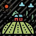 country, farm, field, house, nature, rural, sun icon