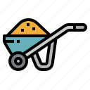 cart, construction, farm, farming, gardening, wheelbarrow icon