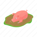 animal, cartoon, dirt, domestic, farm, pig, puddle icon