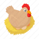 bird, cartoon, domestic, egg, hen, livestock, poultry icon