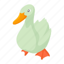 beak, bird, cartoon, farm, feather, goose, white icon