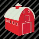 barn, cartoon, door, farm, house, red, wooden icon