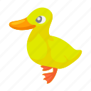 animal, bird, cartoon, duck, duckling, farm, yellow icon