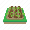 background, bed, cartoon, earth, garden, ground, soil icon