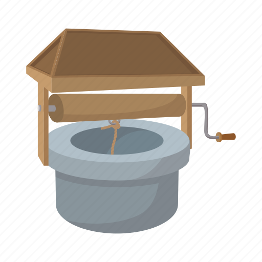 cartoon, roof, rope, sheltered, water, well, wooden icon